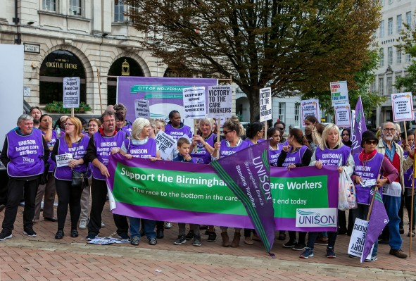 Birmingham Council Homecare Workers Strike, Rally Vic Sq 15th Sept 2018