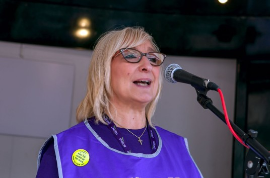 Mandy Buckley Senior Steward, Birmingham Council Homecare Workers Strike, Rally Vic Sq 15th Sept 2018